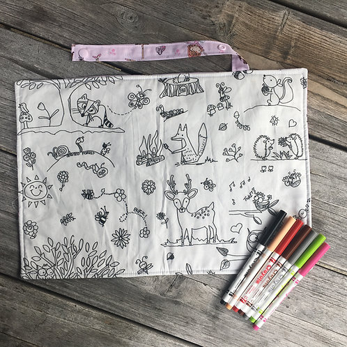 Ballerina/Forest Fabric Colouring Mat