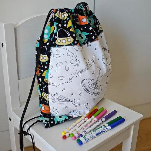 Space Colouring Drawstring Bag