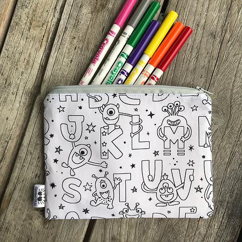 Alphabet Monster Fabric Colouring Pencil Case
