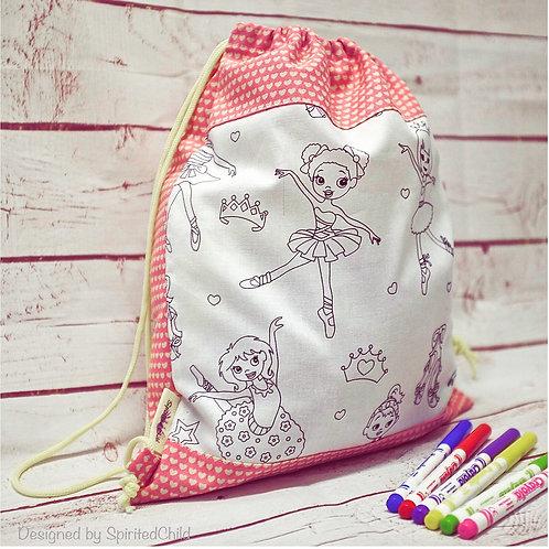 Ballerina Colouring Drawstring Bag