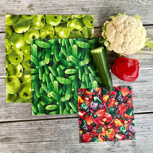 Food Collage Kitchen Pack - Beeswax Wraps