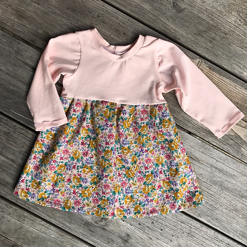 Mustard/ Pink flowers Gathered Dress