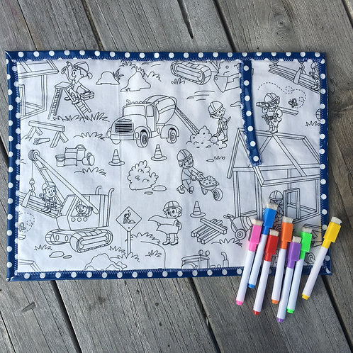 Fabric Wipe Clean Placemat -Blue/Construction Site