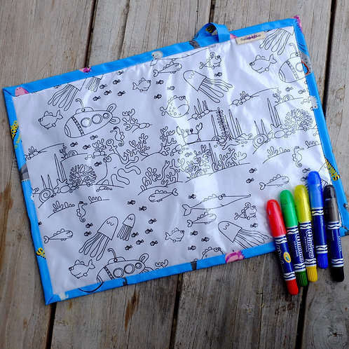 Fabric Wipe Clean Placemat - Underwater Animals