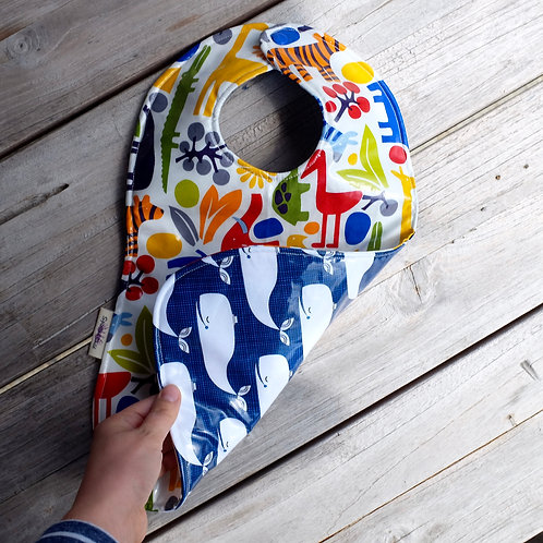 Whale and Primary Zoo Reversible Wipe clean Bib