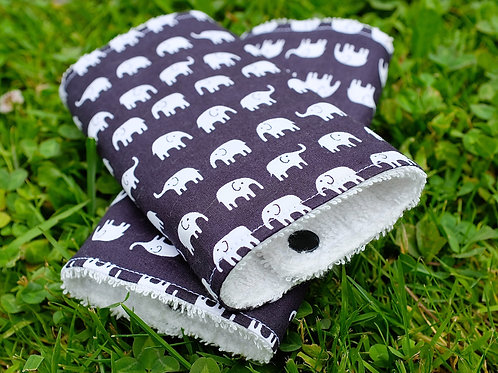 Marching Elephants on Black Strap Covers