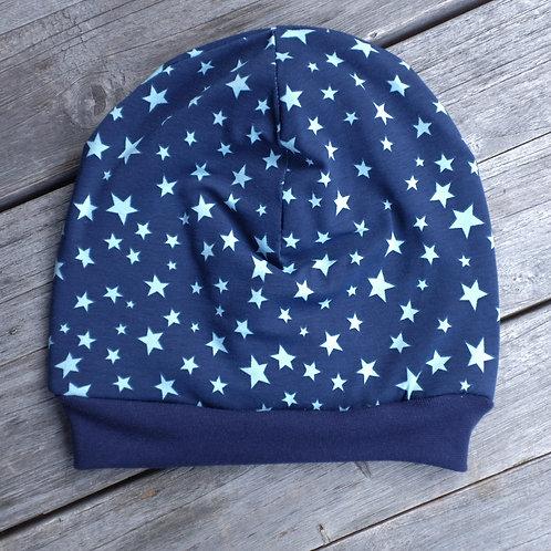Navy Stars Slouchy Beanie