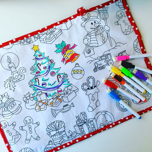 Christmas Wipe Clean Fabric Colouring Placemat