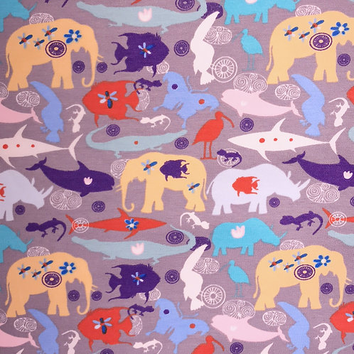 Rainbow Safari Animal - Grey Leggings