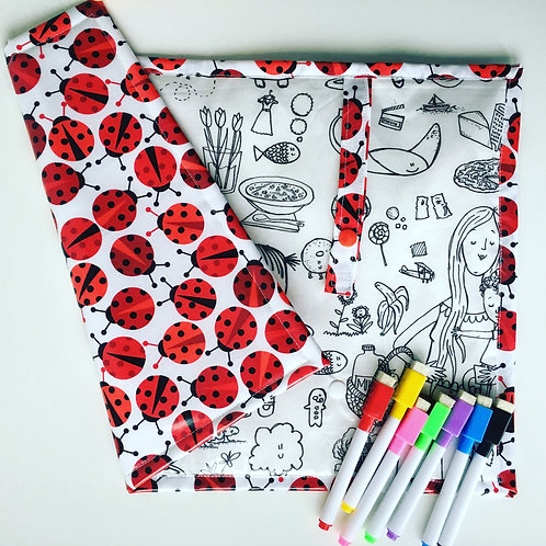 Fabric Wipe Clean Placemat -Illustrations/Ladybirds