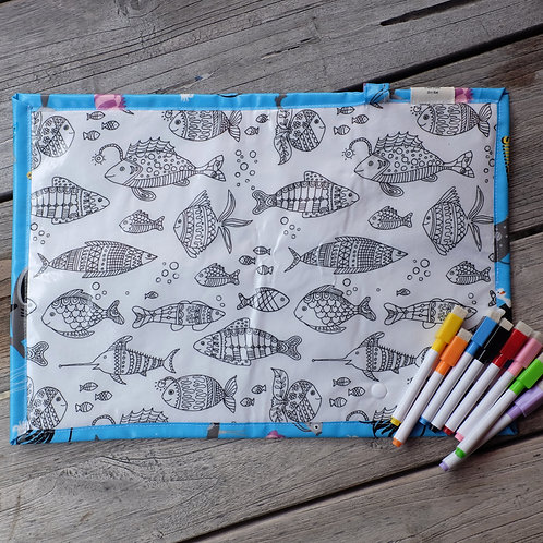 Underwater Fish Wipe Clean Fabric Colouring Placemat