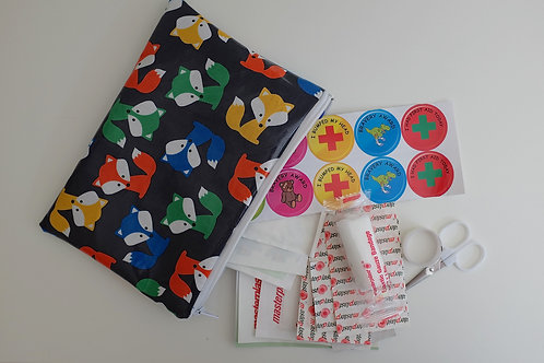 Foxes on Navy First Aid Pouch with kit