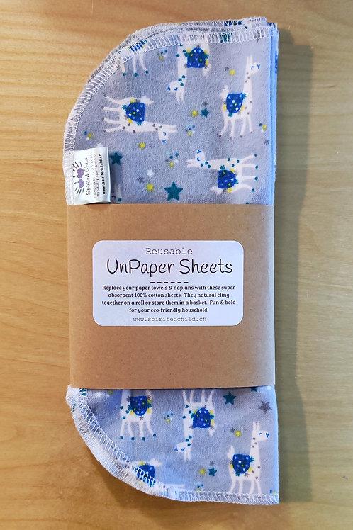 Llama UnPaper Roll - Reusable Cotton Sheets