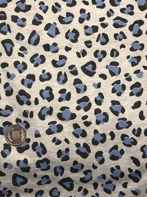 Leopard Blue Fleece Jersey