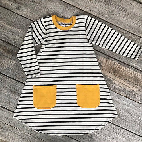 Monochrome stripes/Ochre Pocket Dress