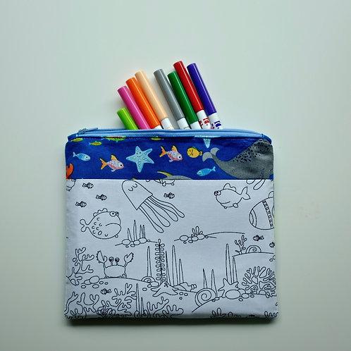 Underwater World Fabric Colouring Pencil Case