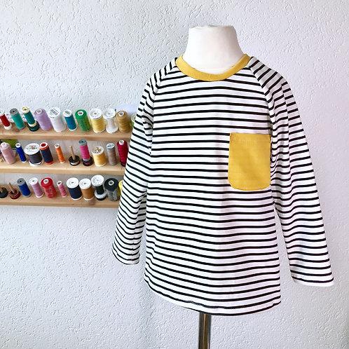 Monochrome stripes with Ochre Pocket T-shirt