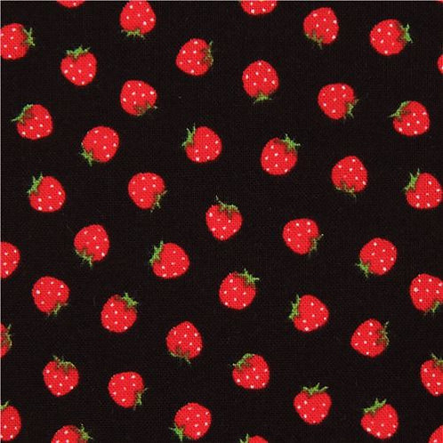 Strawberries on Black Snack Pouch