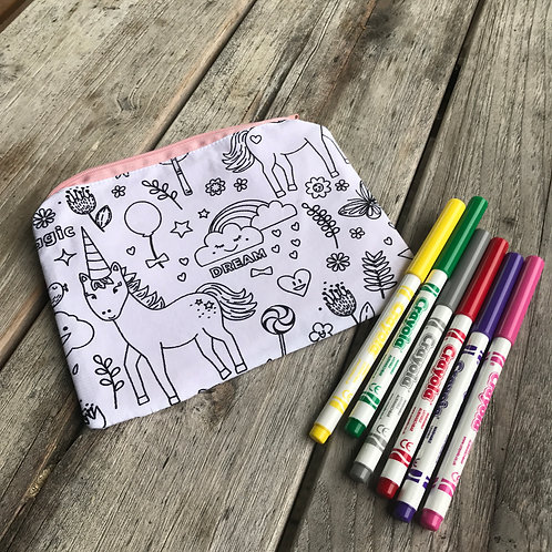 Unicorn Fabric Colouring Pencil Case
