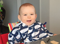 Whale Long Sleeve Bibs - Happy Messy Eater!