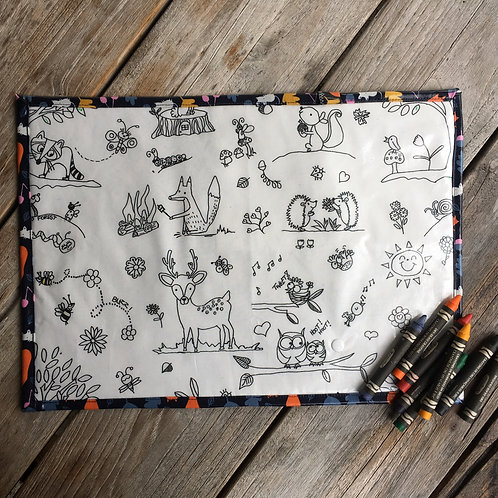 Wipe Clean Fabric Colouring Placemat - Woodland