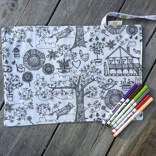 Gentle Forest/Secret Garden Fabric Colouring Mat