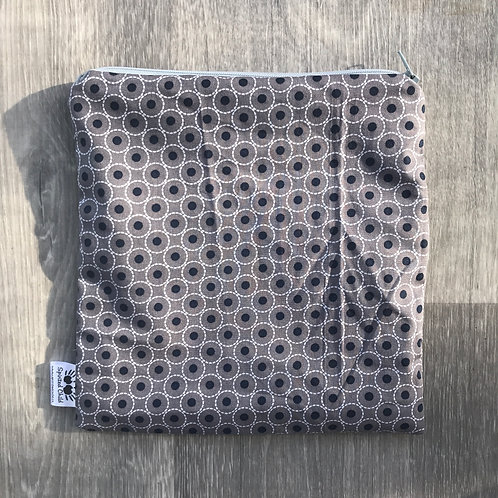 Framed Dots on Grey Snack Pouch
