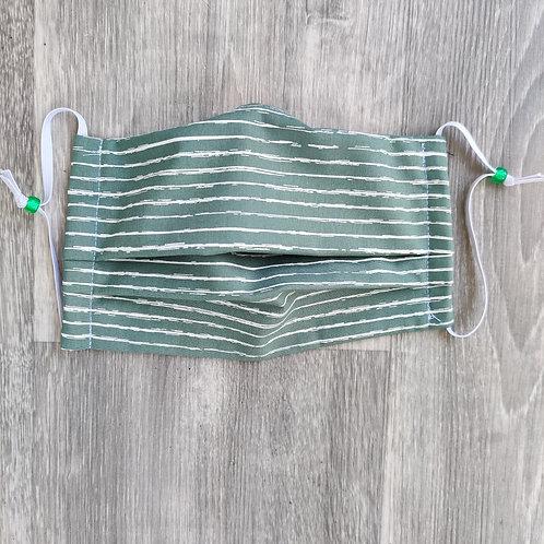 Khaki/white Stripes Reusable Face Covering