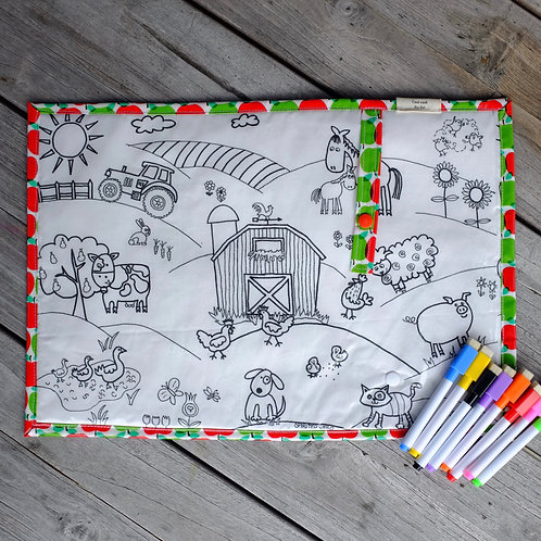 Apples/Farm Wipe Clean Fabric Colouring Placemat