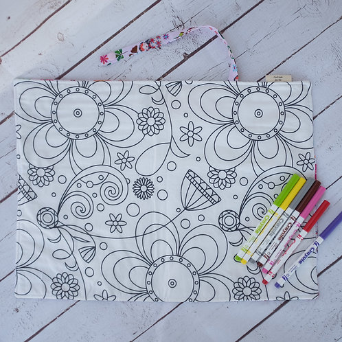 Russian Dolls Pink & Flowers Busy Colouring Mat