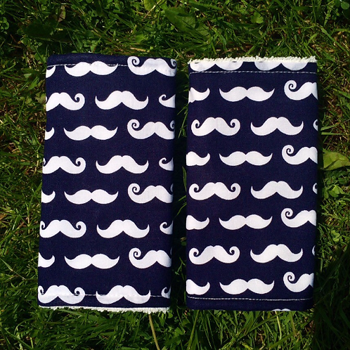 Geeky Chic Moustaches on Navy Strap Covers