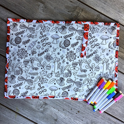 Ladybirds Wipe Clean Fabric Colouring Placemat