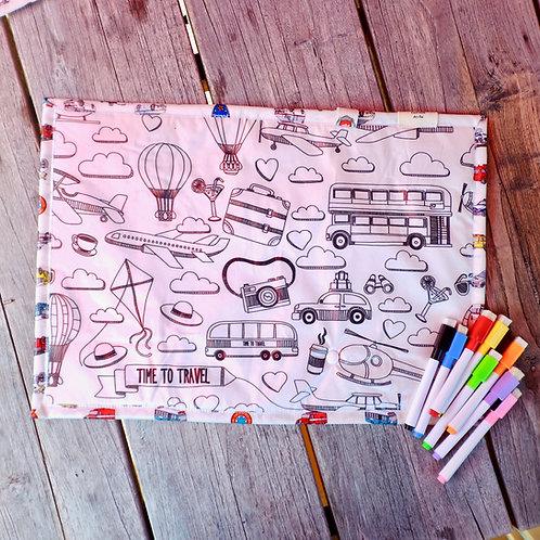 Time to Travel Wipe Clean Fabric Colouring Placemat