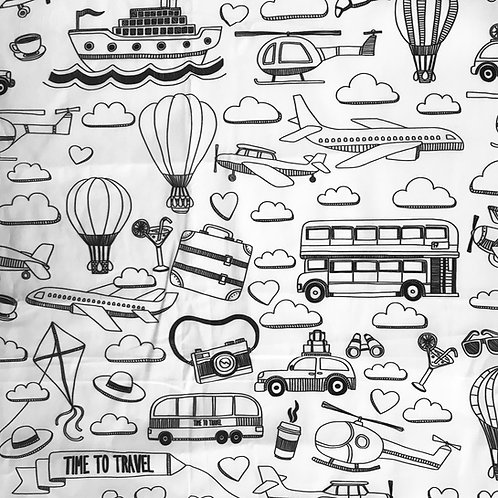 Time to Travel / London  Washable Fabric Colouring Mat