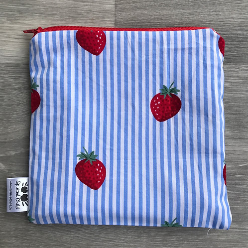 Strawberries on Stripes Snack Pouch