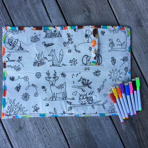 Hedgehog/Woodland Wipe Clean Fabric Colouring Placemat