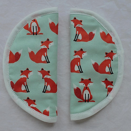 Foxes on Turquoise Round Slip on Strap Covers