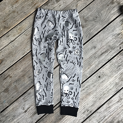 Silver Underwater Animals Leggings