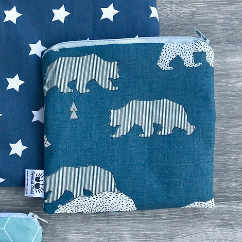 Teal Bears Snack Pouch
