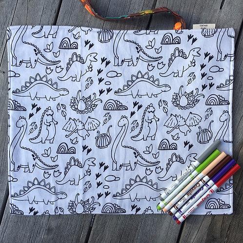 Dinosaur Dudes Fabric Colouring Mat