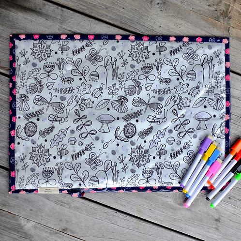 Navy Flowers/Bugs Wipe Clean Fabric Colouring Placemat