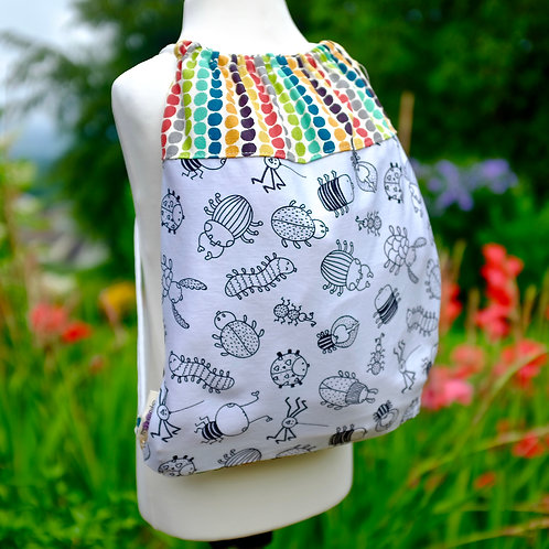 Dots and Bugs Colouring Drawstring Bag