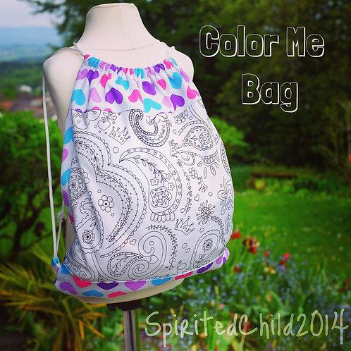 Hearts and Paisley Colouring Drawstring Bag