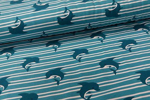 Aqua/Blue Dolphin Leggings