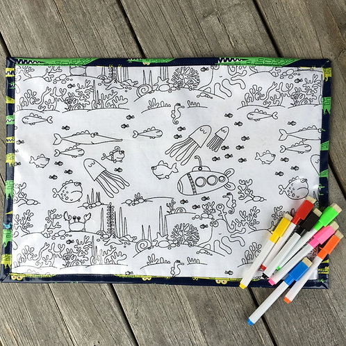 Alligator/Underwater Wipe Clean Fabric Colouring Placemat