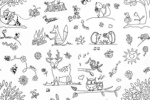Flower/Forest Wipe Clean Fabric Colouring Placemat