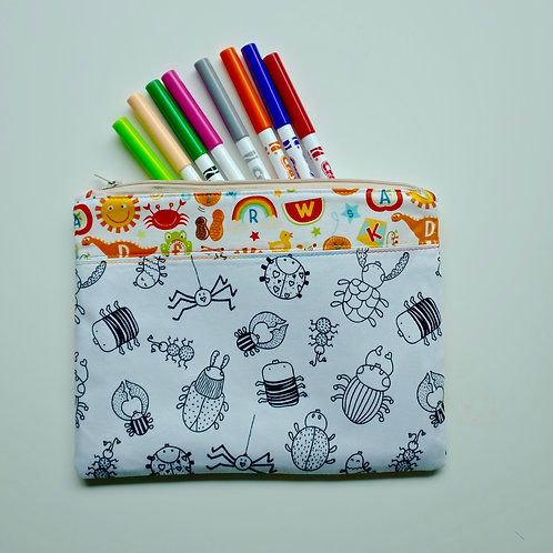 School Days/Bugs Fabric Colouring Pencil Case