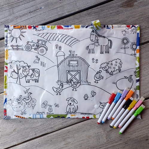 Farm/Rainbow Animals Wipe Clean Fabric Colouring Placemat