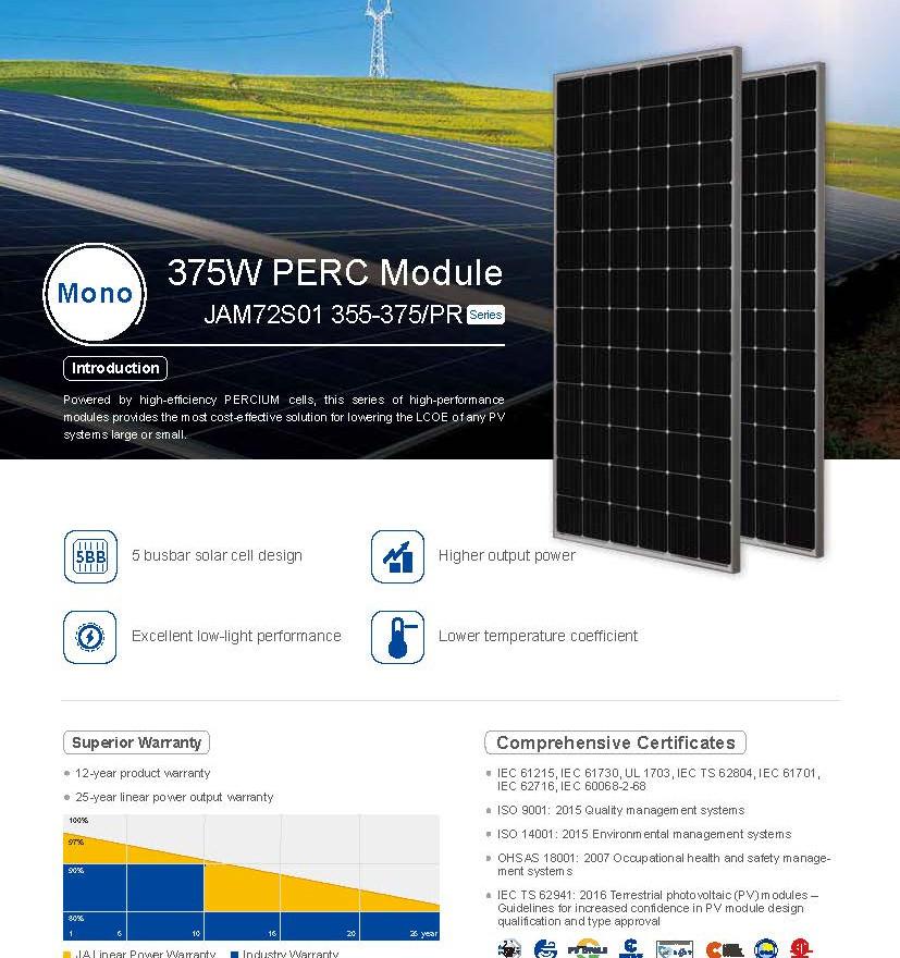 Panel Solar JA Solar Mono de 375W con TS