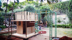 Wooden Cabin with Monkey Ladders